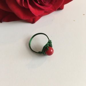 Handmade Red coral wire wrapped ring .🆕🆒🌹